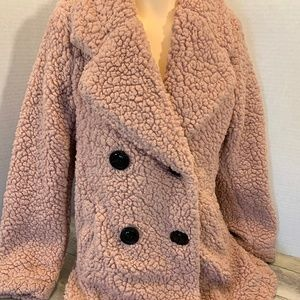 Pink Faux Fur Warm Lined Buttoned Coat Jacket - S